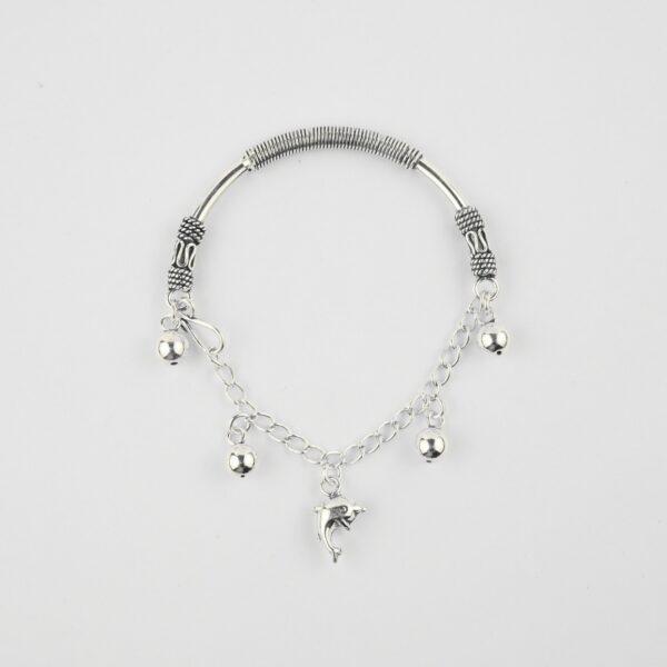 half kada half bracelet in silver