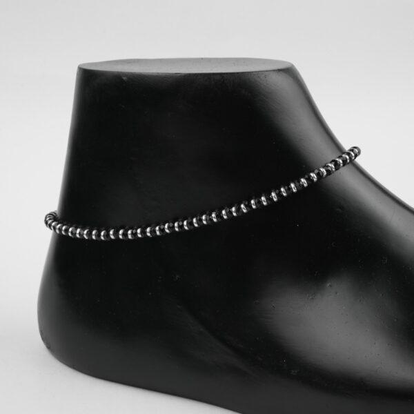 925 Black Beads Anklet