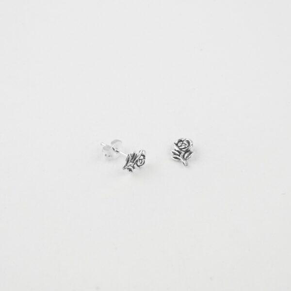rose flower pattern silver studs