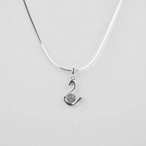 floral swan silver pendant